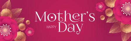 Tarjeta de felicitación elegante del día de la madre con flores y elementos dorados. Linda invitación para boda. Fiesta de cumpleaños, despedida de soltera, etc.