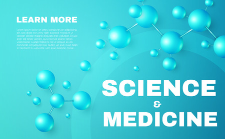 Science and Medicine Abstract Background with 3D Molecules and Trendy Gradient Elements. High Biotechnology Design Template. Vector illustration
