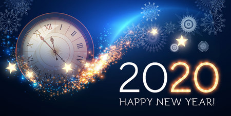 Happy Hew 2020 Year Clock, Fileworks, Lights and Bokeh Effect.