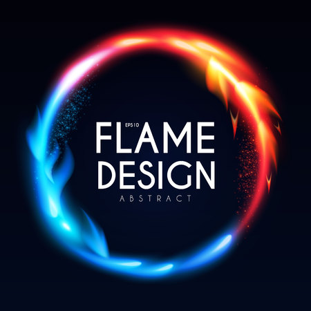 Burning Fire Circle Banner. Flame Power. Light Effect. Иллюстрация