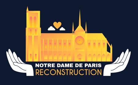 Notre Dame de Paris Reconstruction Design. Save Culture. Cathedral after Fire. Donate for Renovation.