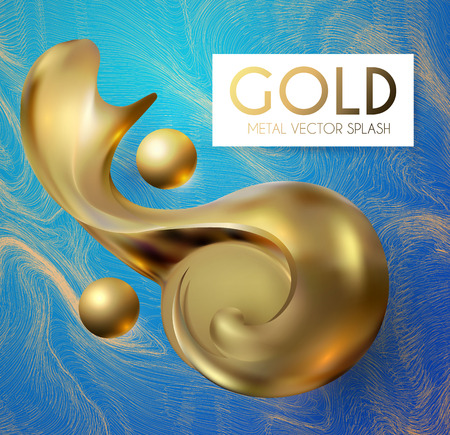 3D Gold Swirl Element. Realistic Abstract Design. Çizim