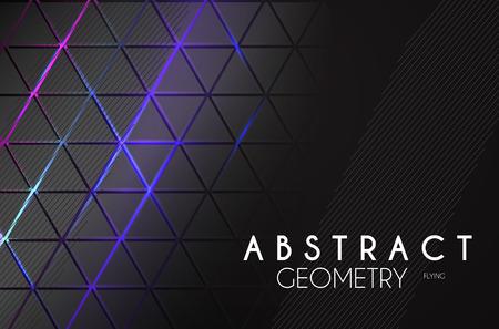 Fondo geométrico abstracto con luces de neón. Espacio de estructura.