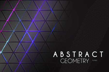 Abstract Geometric Background with Neon Lights. Structure Space.