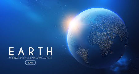 Eath Planet in Space with Lights. Realistic Universe. Cosmos Background.