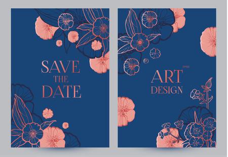 Flower Card or Cover Set. Wedding, Anniversary, Birthday Invitation. Thank You Banner. Art Nouveau Design.