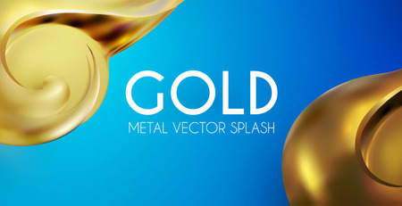 Abstract Background with 3D Gold Element. Golden Wave. Luxury Design.