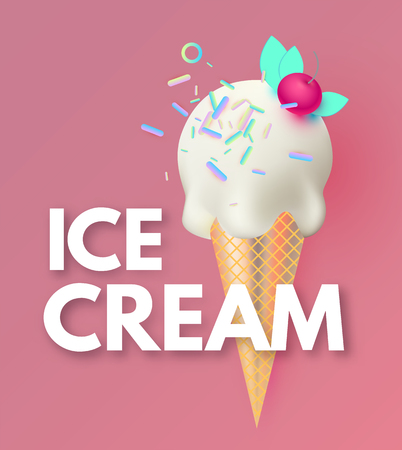 Ice Cream. Gelato Ad. Sweets Shop Promotion. Cute Badge with realistic 3D Vettoriali