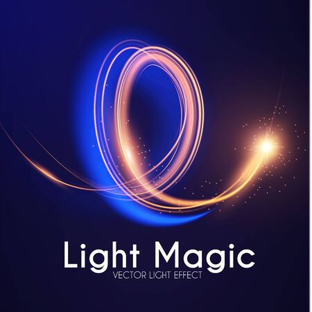 Effet de lumière lunaire. Reflet. Spyral incandescent. Abstrait brillant. Conception magique à la mode. Vecteurs