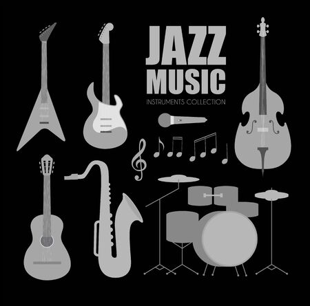 Music Instruments Set. Jazz Band Collection with Notes.