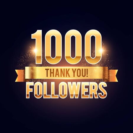 1000 followers gold sign. Thank you banner. Shining design with light bulbs.