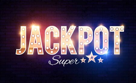 Jackpot shining gold banner with light bulbs and effects. Ilustrace