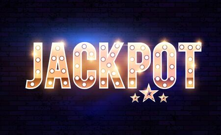 Jackpot shining gold banner with light bulbs and effects. Reklamní fotografie - 127768967