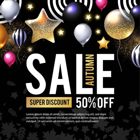 Autumn Sale. Luxurious advertising banner with golden foil balloons and season falling leaves.