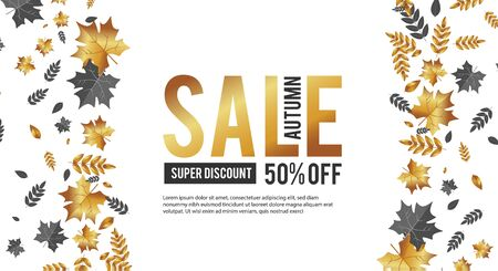Autumn Sale. Luxurious advertising banner with golden season falling leaves.