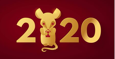 Happy new 2020 year! Papercut rat character. Red and gold design.