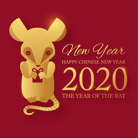 Chinese new 2020 year celebration template with papercut rat character. Red and gold design. Ilustrace