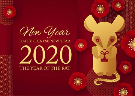 Chinese new year celebration template with papercut rat character, flowers and asian elements. Red and gold design.
