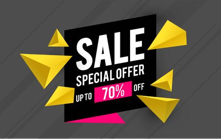 Super sale design template with 3D triangles. Spacial offer. Mega sale.