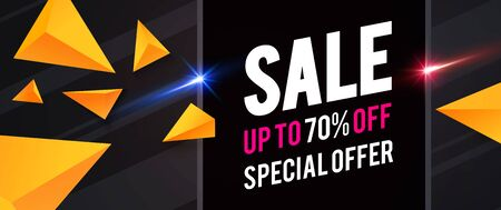 Sale design template with triangles and light effects. Special offer.