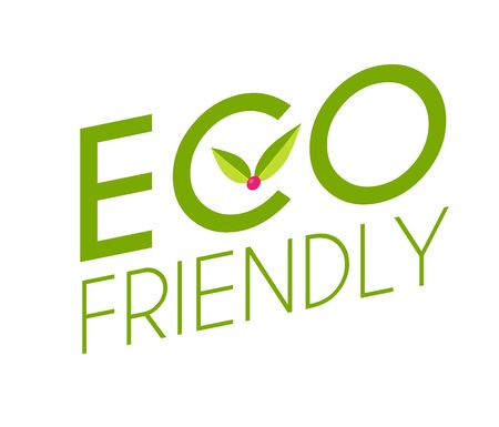 Eco friendly badge design with leaves. Save nature.