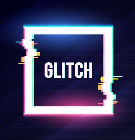 Geometric square banner with glitch effect and shining lights.