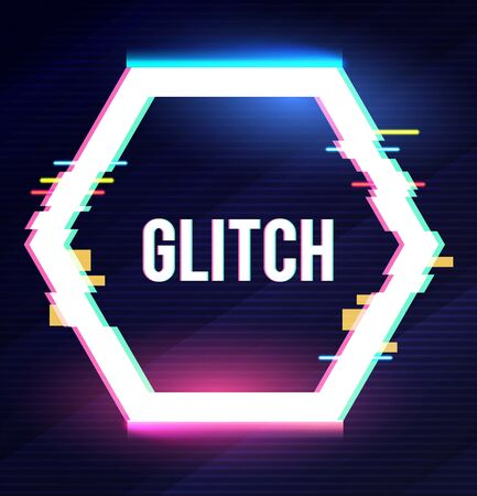 Geometric hexagon banner with glitch effect and shining lights. Ilustrace