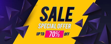 Sale banner design template with realistic 3D triangles and light. Super offer. Big sale. Motion space.