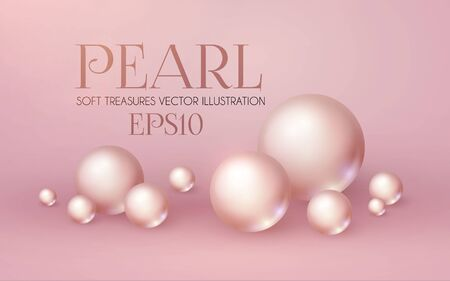 Elegant 3D Pink Pearls. Pearl Beads. Treasure realistic design.