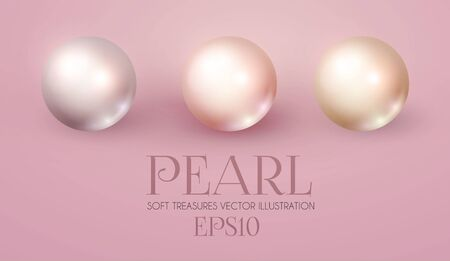 Elegant 3D Pink Pearls Set. Pearl Beads. Treasure Realistic Design.
