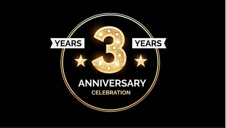 1 year anniversary celebration design template with gold glitter effect.