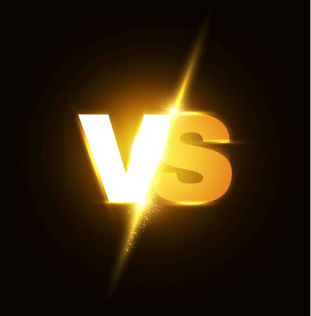 Versus Letters. Shining Competition Symbol. Logo and Badge. Fight and Match Element.