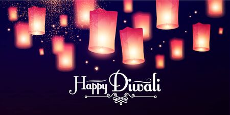 Happy Diwali Holiday background with flying sky lamps. Indian holiday.