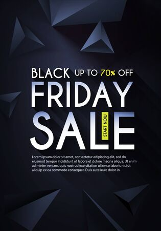 Black friday. Sale design template with realistic 3D triangles. Иллюстрация