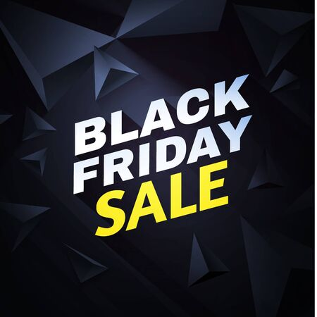Black friday. Sale design template with realistic 3D triangles. Banco de Imagens - 130125055