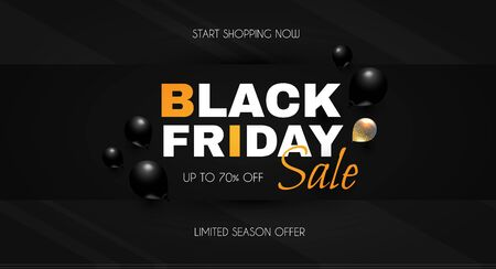 Black friday. Sale banner template with flying balloons.