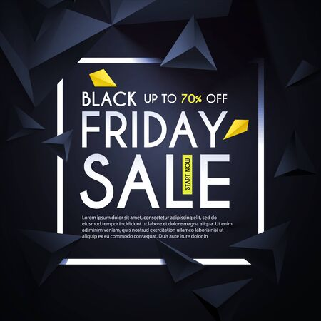 Black friday. Sale design template with realistic 3D triangles. Çizim