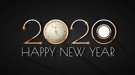 Happy new 2020 year Elegant text design template with gold metal effect, ralistic clock and light. Minimal design. Illustration