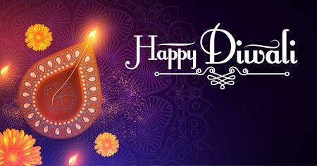 Diwali Festival design template. Holiday poster with burning diya lamps and flowers. Illusztráció