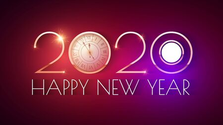Happy new 2020 year Elegant text design template with gold metal effect, ralistic clock and light. Minimal design. Stockfoto - 130125276
