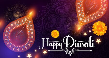 Diwali Festival design template. Holiday poster with burning diya lamps and flowers. 일러스트