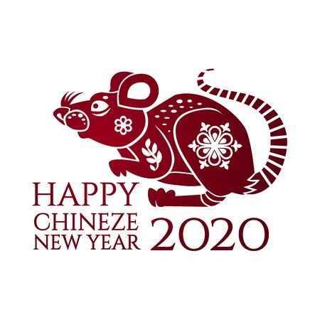 Chinese new year celebration template with papercut rat character.