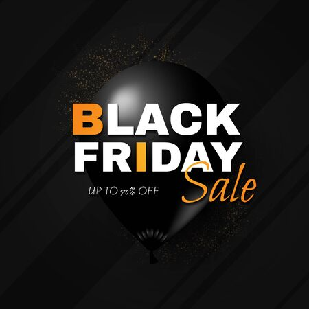 Black friday. Sale banner template with black balloon.