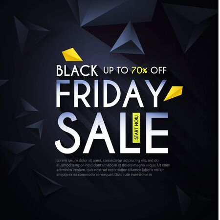 Black friday. Sale design template with realistic 3D triangles. Banco de Imagens - 130125319