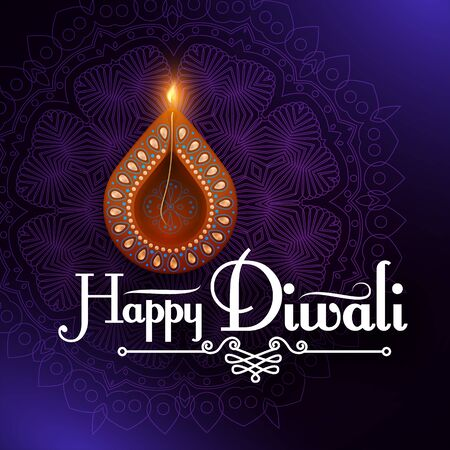 Diwali Festival design template. Holiday poster with burning diya lamp. 일러스트