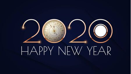 Happy new 2020 year Elegant text design template with gold metal effect, ralistic clock and light. Minimal design. Stock Illustratie