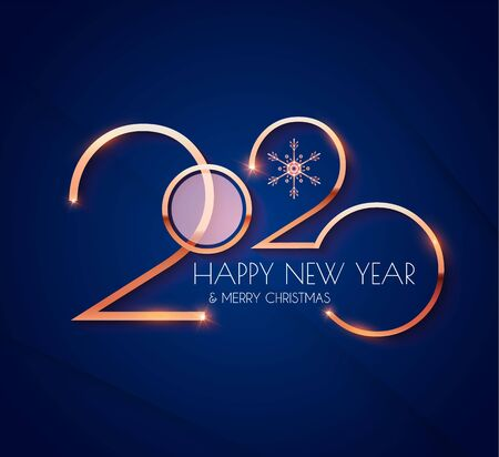Happy new 2020 year Elegant gold text with light. Minimalistic template.