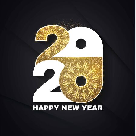 Happy new 2020 year Elegant text with shimmer of gold and light. Minimalistic template.