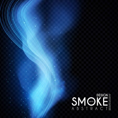 Abstract transparent light wave and smoke effect. Magic mist.