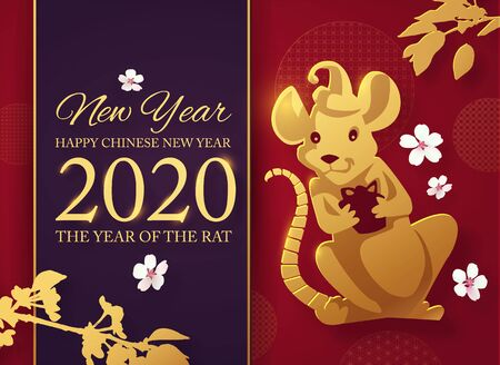 Chinese new2020 year celebration template with papercut rat character, plum brunches and asian elements. Red and gold design.